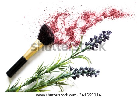 Makeup brush and blusher sample with lavander on white background. Woman's Day. March 8. - stock photo