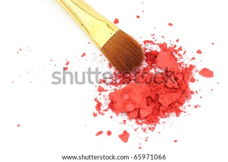 makeup brush and cosmetic powder isolated on white background