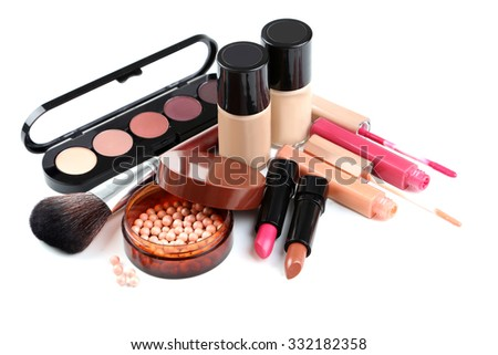 Makeup brush and cosmetics isolated on a white - stock photo