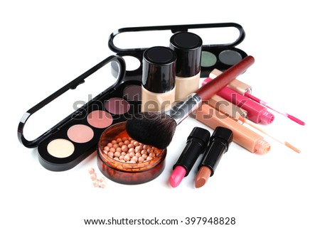 Makeup brush and cosmetics isolated on a white