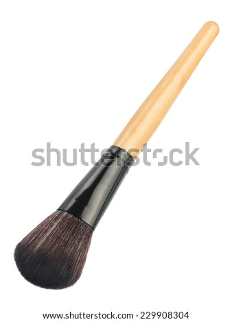 Makeup brush isolated on a white background - stock photo