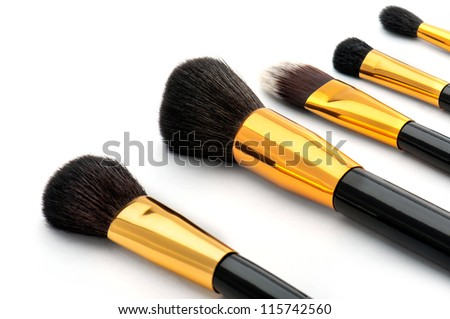 Makeup brush set - stock photo