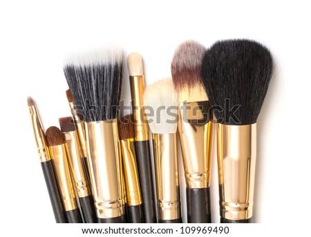 Makeup Brush Set, on white background - stock photo