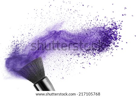 makeup brush with blue powder isolated on white - stock photo