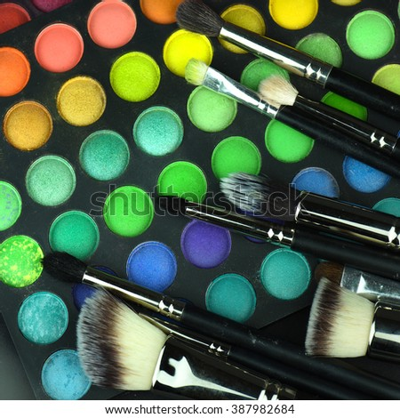 Makeup brushes and palette