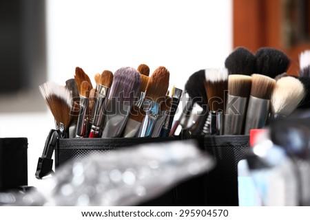makeup brushes, closeup  - stock photo