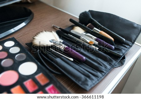 makeup brushes, closeup. Professional cosmetics for make-up artist.