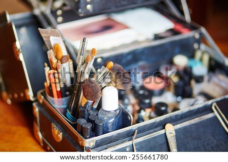 Makeup brushes in a makeup artist case - stock photo