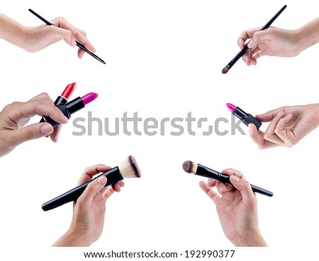 Makeup brushes isolated on white background