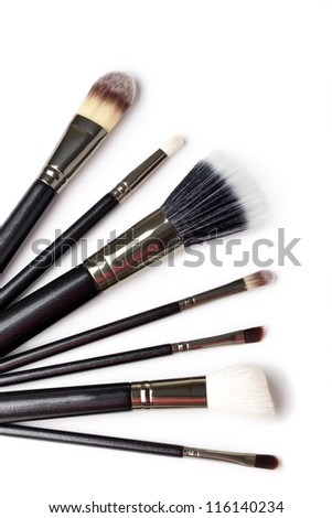 Makeup Brushes on white  background - stock photo