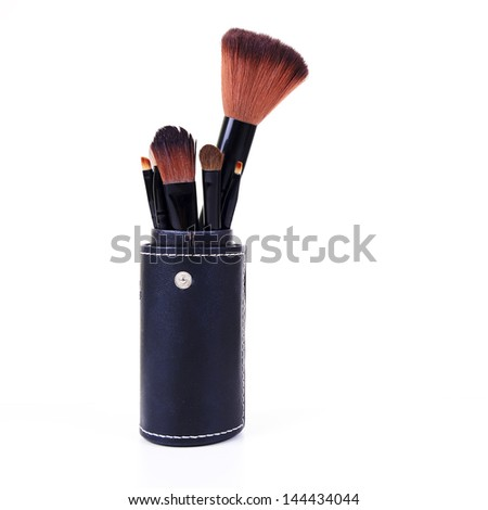 Makeup Brushes on white background - stock photo