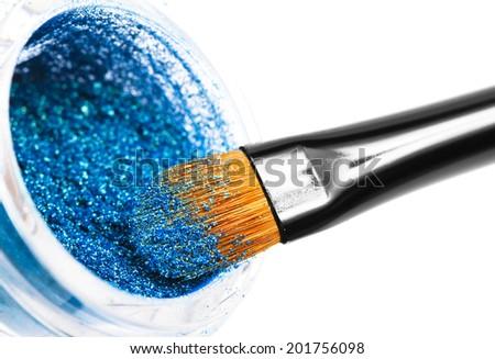 Makeup brushes powder - stock photo
