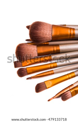 Makeup brushes set, beauty professional tools isolated
