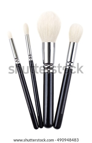 Makeup brushes set. Isolated. White background.