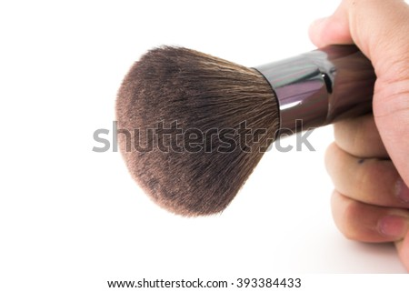 Makeup Brushes,women hand with cosmetic brushes on white background