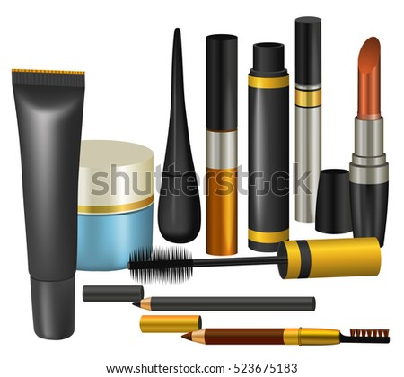 Makeup Collection Make Cosmetics Accessories Illustration Stock ...