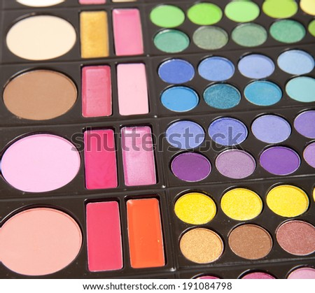 Makeup colorful eye shadow palettes  - stock photo