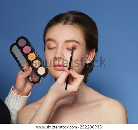 Makeup. Cosmetic. Skin tone palette. Applying Make-up