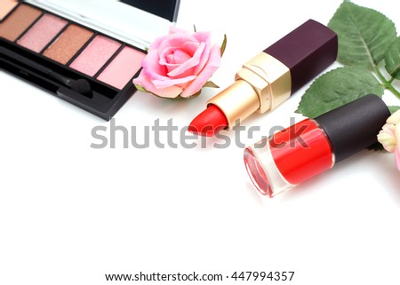 Makeup Cosmetics with Vintage Roses on White Background, Flat Lay Style with Free Text Space