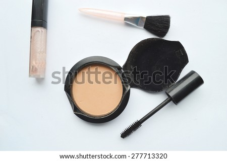 Makeup Eyeliner brush with bottle ,set of cosmetics,Make-up and brushes,powder, puff, mascara, eyeliner - stock photo