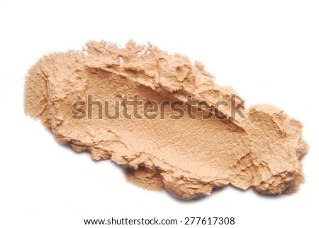 makeup foundation sample  isolated on white - stock photo