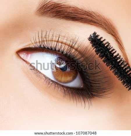 Makeup. Make-up. Applying Mascara. Long Eyelashes - stock photo