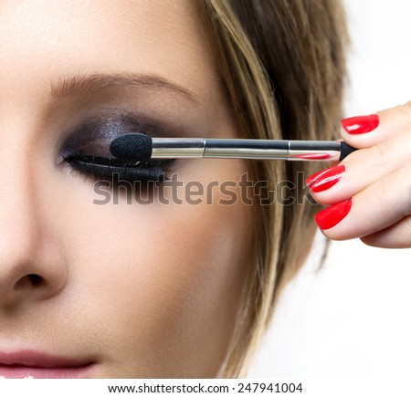 Makeup. Make-up. Eyeshadows. Eye shadow brush - stock photo