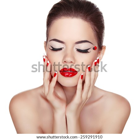Makeup. Manicured nails. Attractive girl with red lips isolated on white background. Studio Shot of Stylish Woman. - stock photo