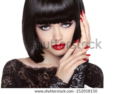 Makeup. Manicured nails. Beauty girl portrait. Red lips. Back short bob hair. Hairstyle. Portrait of Female isolated on white background - stock photo