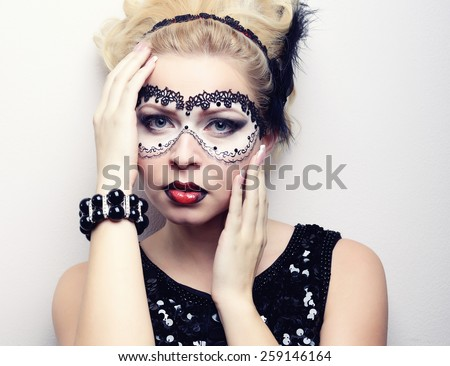 makeup model color makeup the mask on the eyes - stock photo