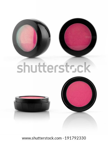 Makeup pink eye powder container on white background