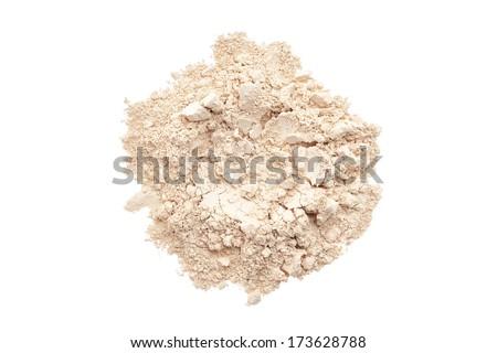 Makeup powder foundation isolated on white background - stock photo