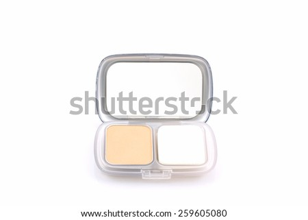 Makeup powder in white case on white background.