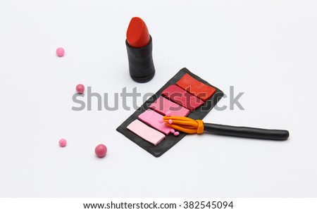 makeup products made of Plasticine - stock photo