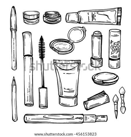 Makeup Products Sketch Cosmetics Hand Drawn Stock ...
