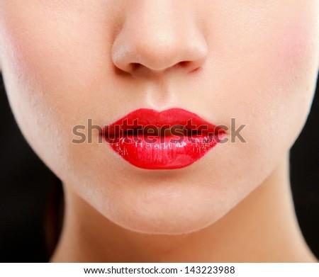 Makeup.Professional Make-up. Lipgloss. Lipstick - stock photo