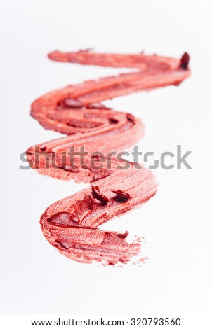 makeup samples on white background, macro, not isolated