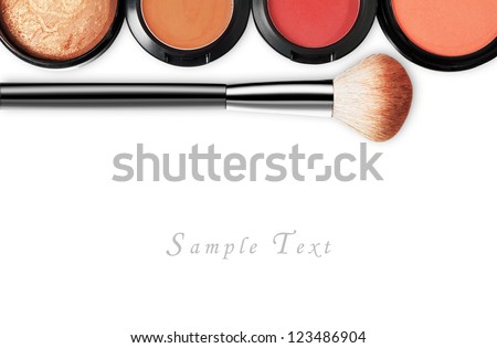 makeup set isolated on white background - stock photo