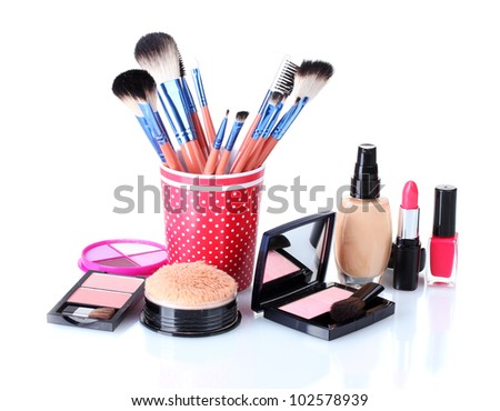 makeup set isolated with brushes isolated on white