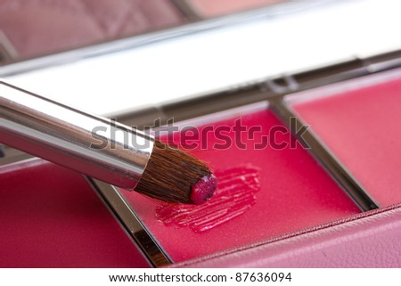 makeup set with brush closeup - stock photo