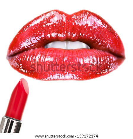 Makeup. Square composition with a lot of useful copy-space. - stock photo