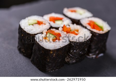 Maki rolls with vegetable