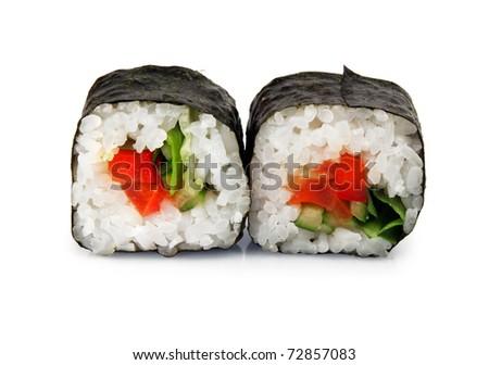 Maki sushi. Japanese cuisine on white - stock photo