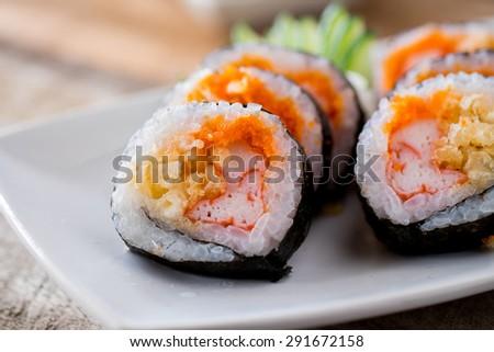 Maki sushi Japanese food. - stock photo