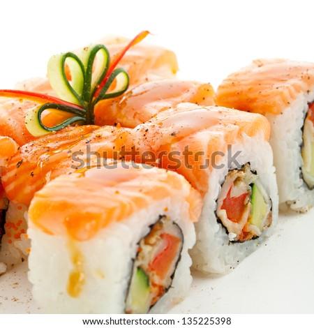 Maki Sushi Roll Made Smoked Eel Stock Photo 62385631