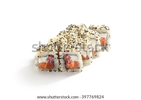 Maki Sushi - Roll made of Smoked Salmon, Cream Cheese and Pepper inside. Sesame ouside - stock photo
