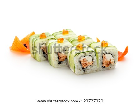 Maki Sushi - Rolls with Fried Salmon and Cream Cheese insisde. Cucumber outside. Topped with Ikura (salmon roe)