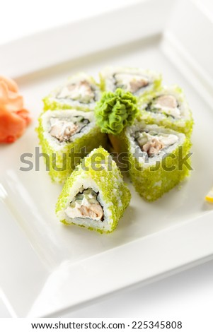 Maki Sushi - Rolls with Fried Tuna, Cucumber and Cream Cheese inside. Tobiko outside
