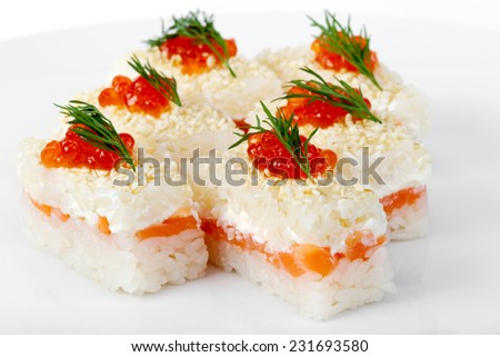 Maki Sushi with Salmon, red and black caviar. Selective focus - stock photo