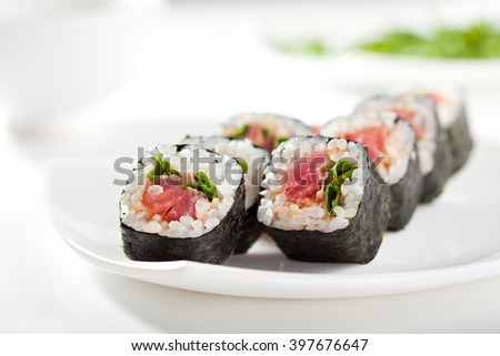 Maki Sushi with Tuna and Spring Onion inside. Nori outside